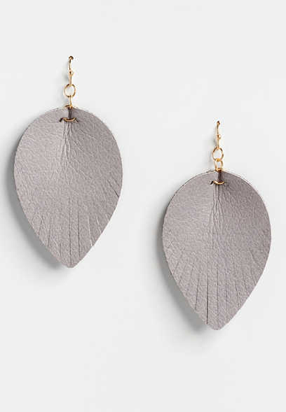 Gray Faux Leather Drop Earrings