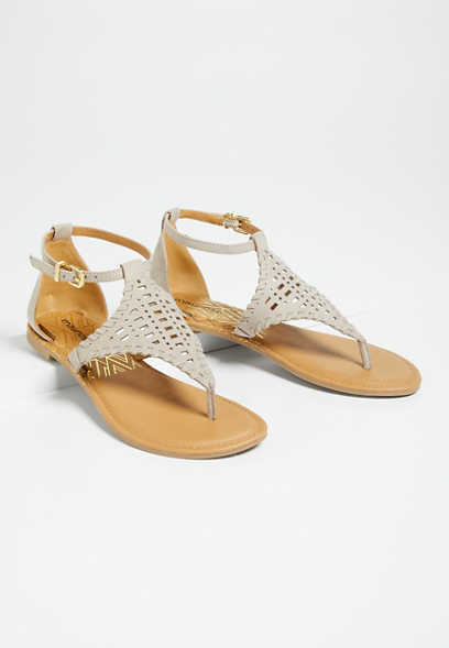 Laurel Gray Laser Cut Flat Sandal