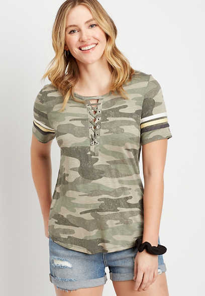 24/7 Camo Lace Up Neck Tee