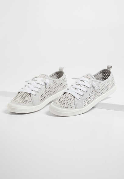 Mariah Gray Suede Perforated Slip On Sneaker