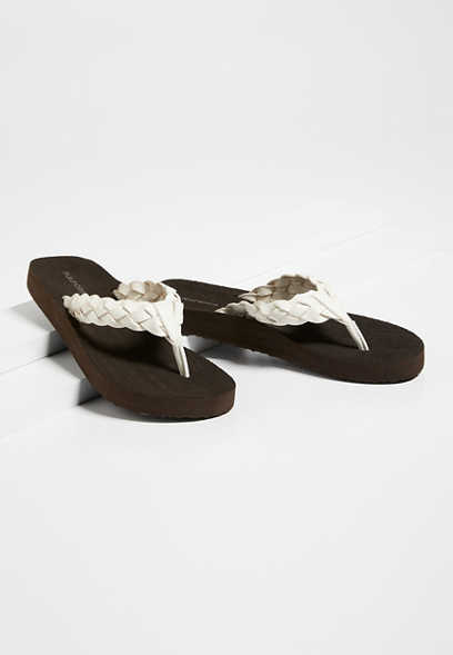 Leah White Braided Flip Flop