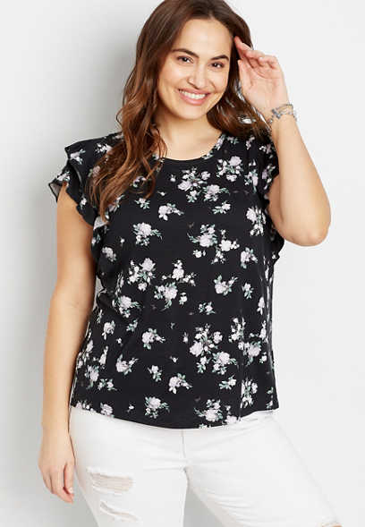 Plus Size 24/7 Black Floral Ruffle Sleeve Tee