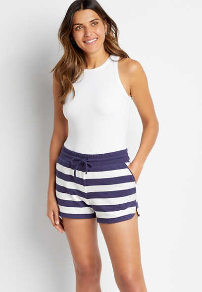 Navy Stripe 3.5in French Terry Short
