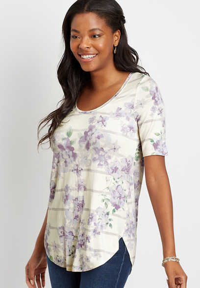 24/7 Lilac Floral Stripe Flawless Tee