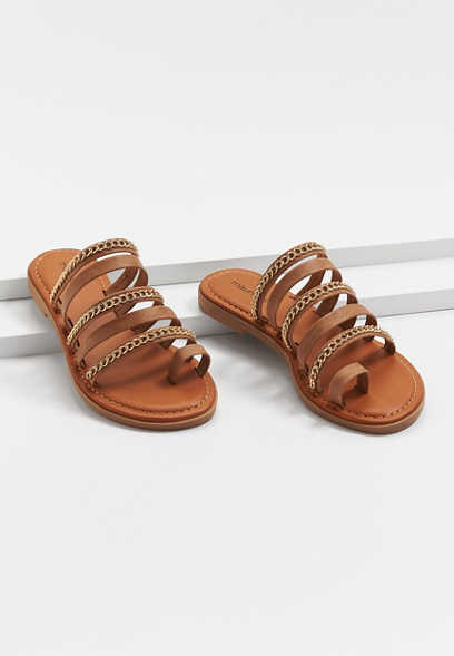 Lydia Brown Gold Chain Strappy Sandal