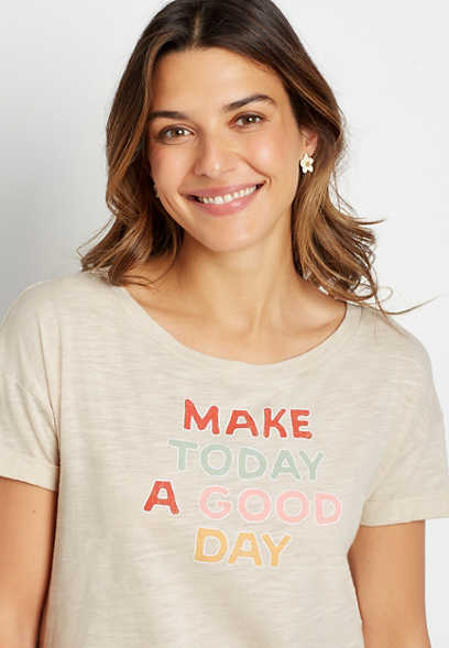 Beige Make Today A Good Day Graphic Tee