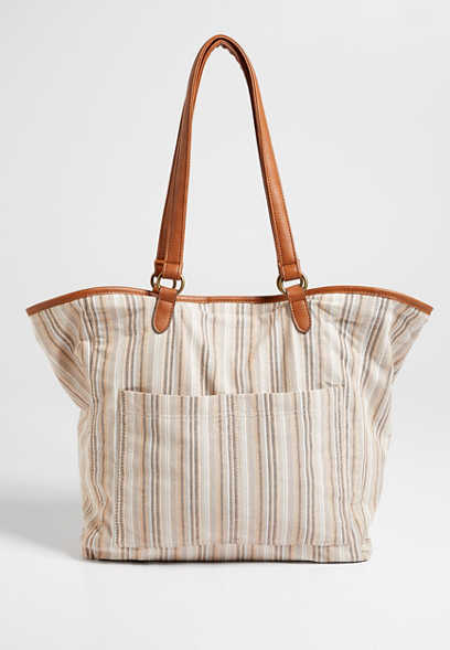 Natural Stripe Tote Bag