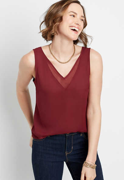 Red Sheer Inset V Neck Tank Top