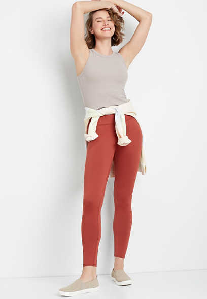 High Rise Rust Full Length Luxe Legging
