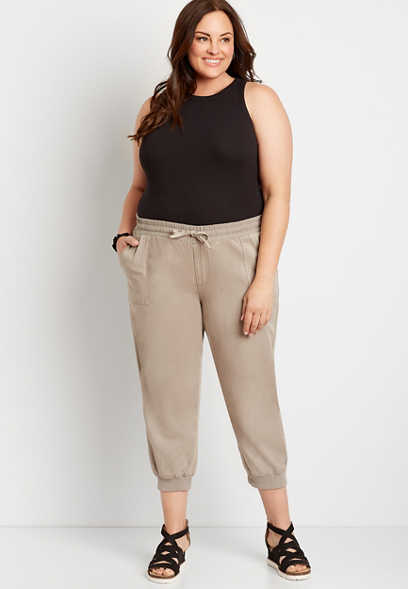 Plus Size Tan Cropped Weekender Jogger Pant