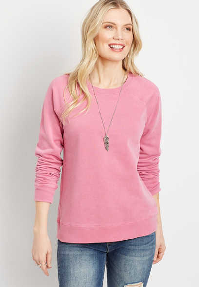 Maurices Bright Pink Solid Crew Neck Sweatshirt