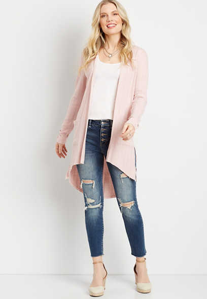 Light Pink Snap Sleeve Duster Cardigan