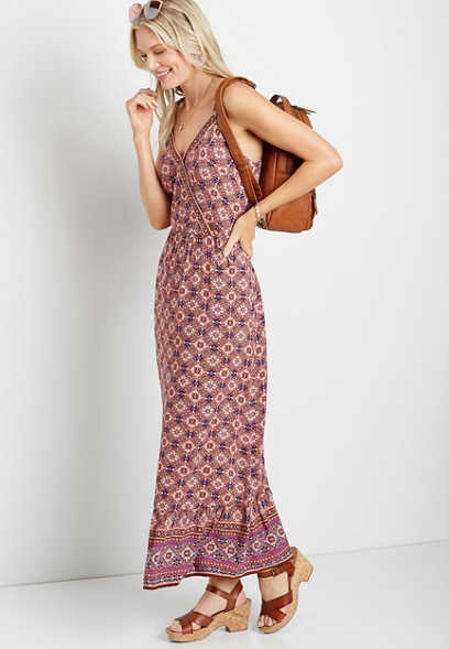 Mixed Print Surplice Maxi Dress