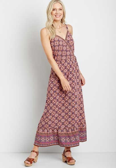 Maurices Mixed Print Surplice Maxi Dress