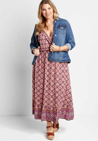 Plus Size Mixed Print Surplice Maxi Dress