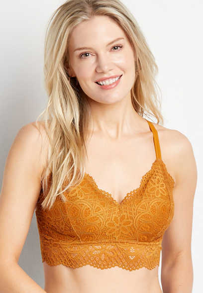 Gold Strappy Back Lace Bralette