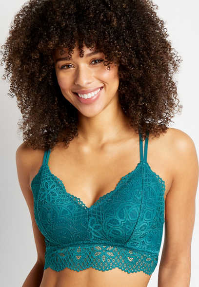 Teal Strappy Back Lace Bralette
