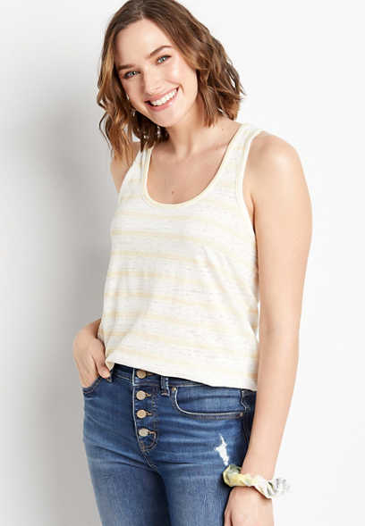 24/7 White Striped Knot Back Tank Top