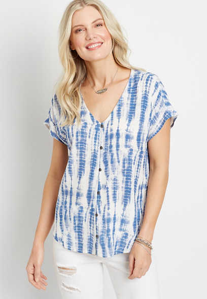 Blue Tie Dye Short Sleeve Button Down Shirt