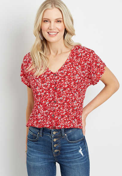 Red Bandana Button Front Blouse