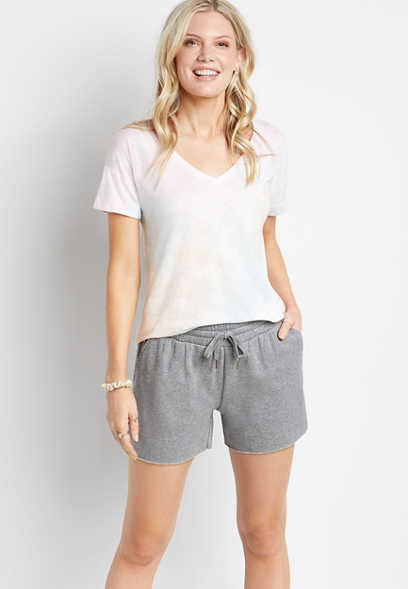 Cozy Gray Cut Off 4in Short