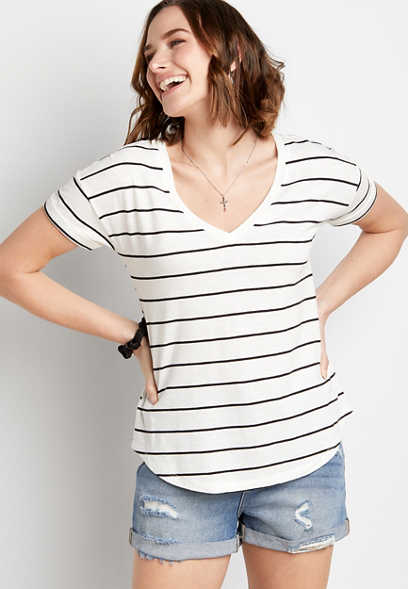 24/7 Black and White Striped Tee