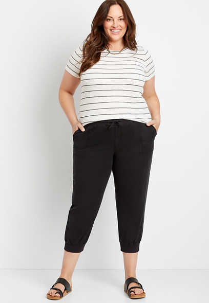 Plus Size Black Cropped Jogger Pant
