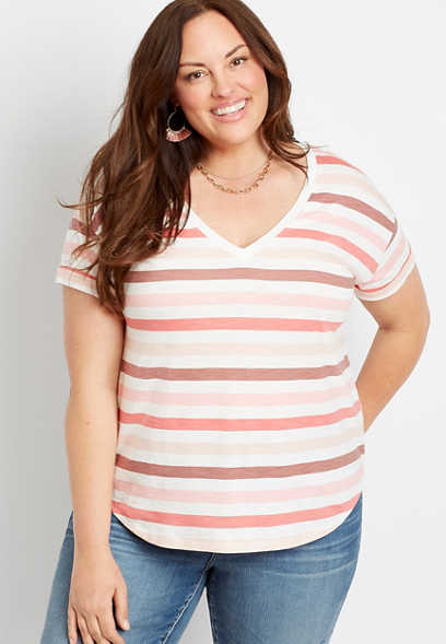 Plus Size 24/7 Pink Stripe Drop Shoulder Classic Tee