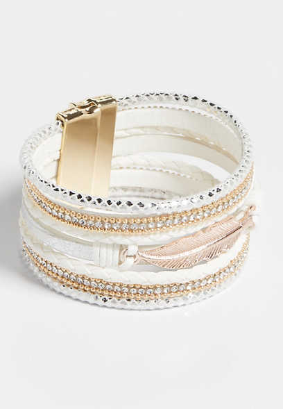 White Feather Multi Row Magnetic Bracelet