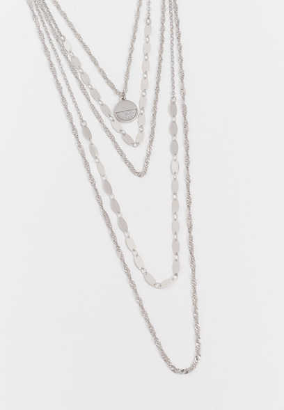 Silver Layered Glitter Pendant Drape Necklace