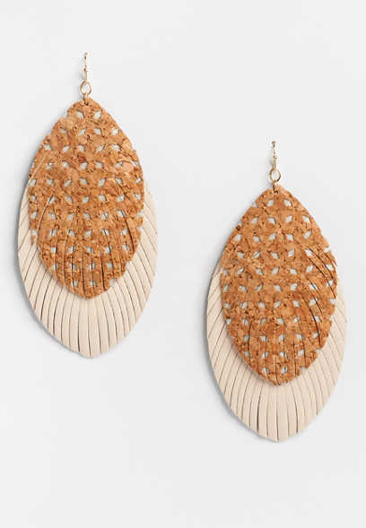 Double Feather Diamond Frame Earring
