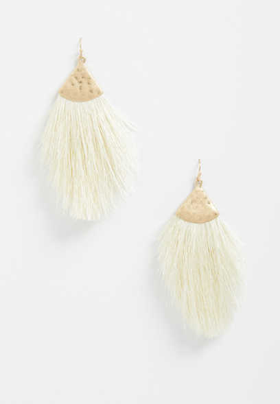 Ivory Oversized Fringe Earrings