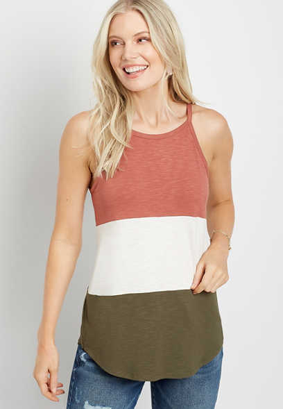 24/7 Color Block High Neck Tank Top