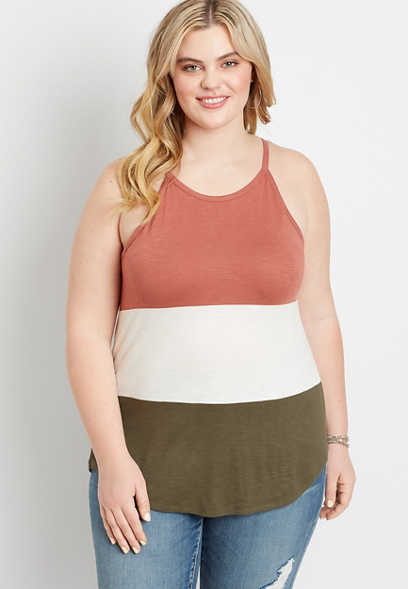 Plus Size 24/7 Color Block High Neck Tank Top