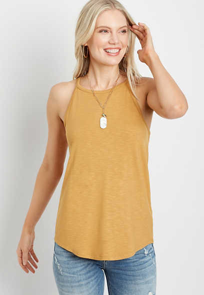 24/7 Gold High Neck Tank Top