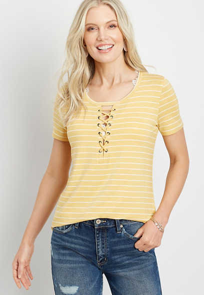 24/7 Yellow Striped Lace Up Neck