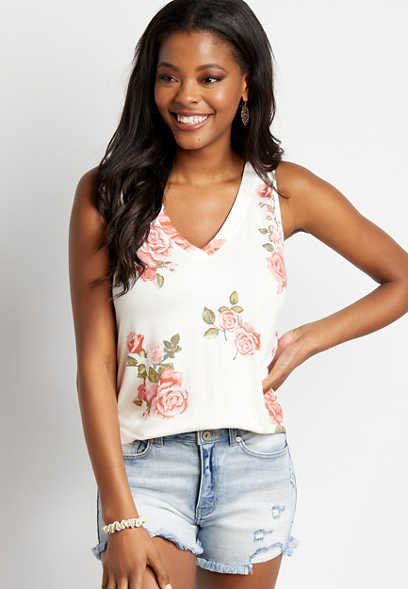 24/7 White Floral Classic Tank Top