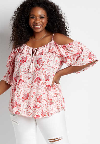 Plus Size White Floral Cold Shoulder Top