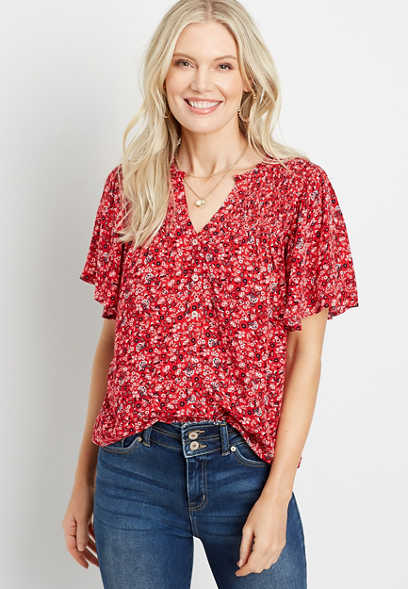 Red Ditsy Floral Flutter Sleeve Top