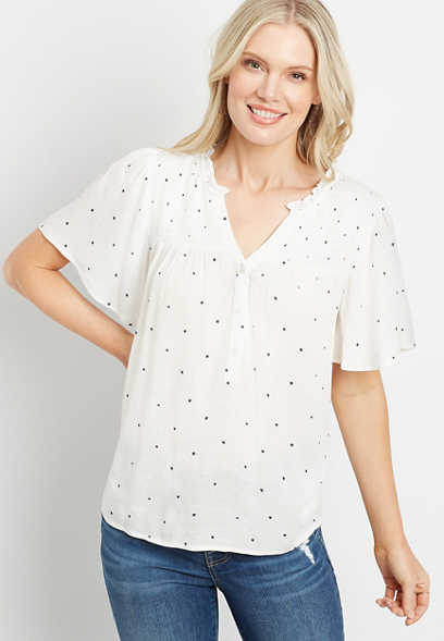 White Star Flutter Sleeve Button Front Top