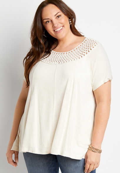 Plus Size Oatmeal Macrame Neck Top