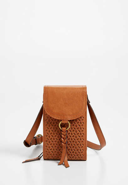 Cognac Cut Out Crossbody Bag
