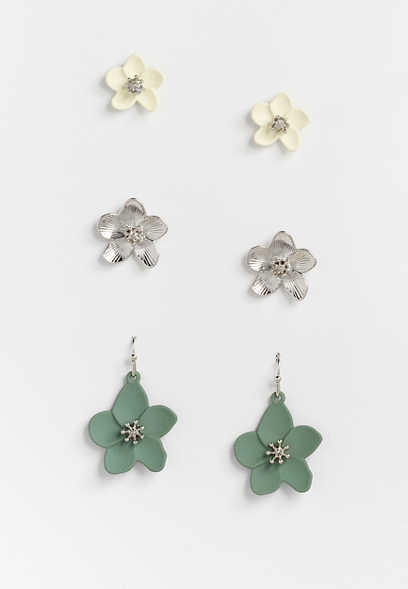 3 Piece Flower Earring Set