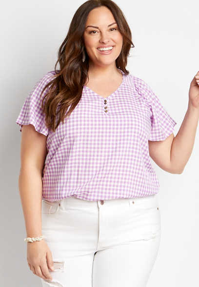 Plus Size Purple Gingham Flutter Sleeve Top