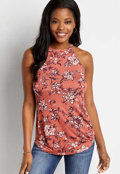 24/7 Rose Floral High Neck Tank Top