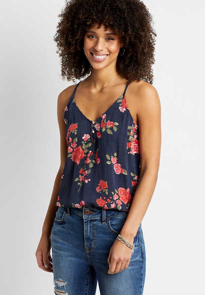 Navy Button Front Floral Cami
