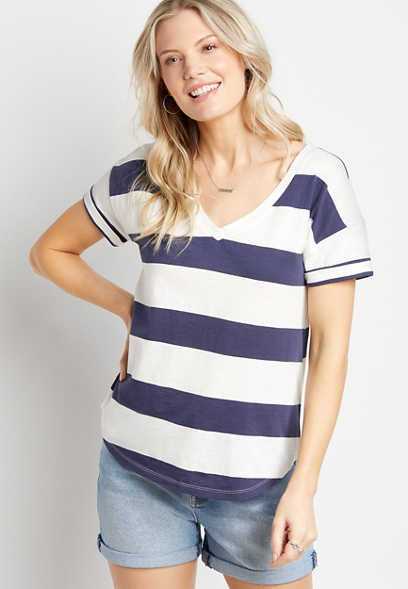 24/7 Navy Blue Striped Tee