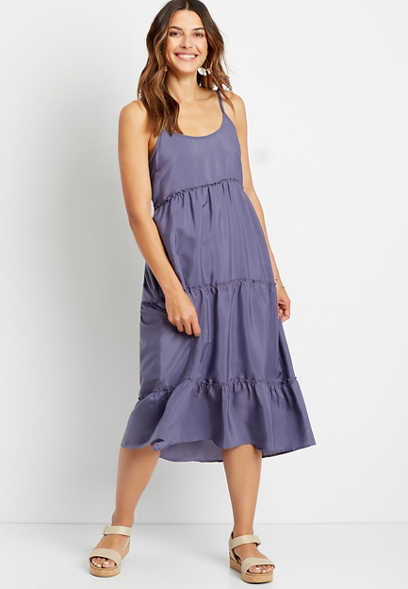 Purple Tiered Midi Dress