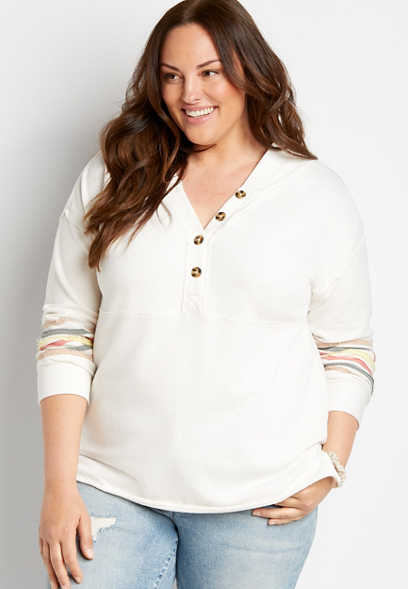 Plus Size White Rainbow Sleeve Button Front Hoodie