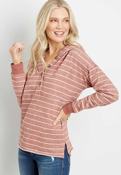 Striped Button Front Hoodie